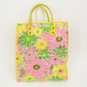 Vintage 60's Bright Floral Clear Tote Bag